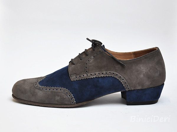 Men's tango shoe - suede - Grey & navy blue