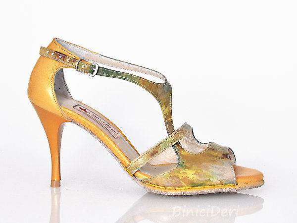 Women's tango shoe - Green & Mustard yellow